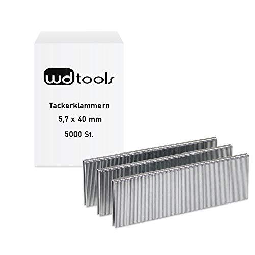 WD Tools Tackerklammern Klammern zu Drucklufttacker 5,7 x 40mm (Rückenbreite x Länge) 5000 Stück