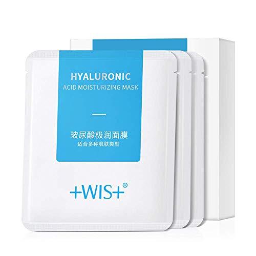 WIS Hoja de mascarilla facial de ácido hialurónico, mascarilla facial hidratante antienvejecimiento hidratante profunda para el cuidado de la piel seca, antiarrugas y líneas finas,10 paquetes