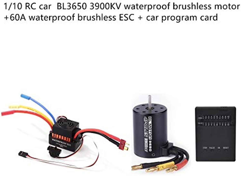 Qomomont 1 Satz BL3650 Elektronische Gouverneur 3900KV Brushless Motor + 60A ESC + LED Programm Karte Combo Für 1 10 RC Auto (Orange, as Shown)