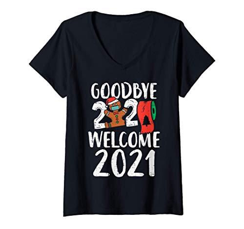 Womens Goodbye 2020 Hello 2021 Gingerbread New Year Quarantine Gift V-Neck T-Shirt