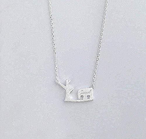 WLHLFL Collar Árbol y Hermoso Collar de Elefante Collares Pendientes para Mujeres Joyería llamativa Collar Cadena Colgante para Mujeres Hombres