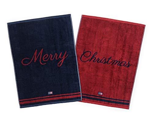 Lexington - Set 2 Toallas 50x70 Roja y Azul Merry Christmas- Terciopelo (02011740127)