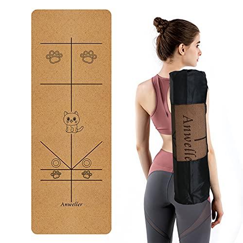Anweller Yogamatte kork rutschfest aus Naturkautschuk, ökologische Sportmatte mit Tragegurt und Tasche, Fitnessmatte Gymnastikmatte für Fitnessstudio/Sport im Freien (Katze Grün) (183 x 66 x 0,6 cm)
