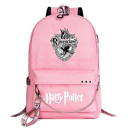Zaino per il tempo libero per ragazza di Hogwarts Backpack Zaino rosa di Harry Potter , con borsa di scuola con interfaccia di ricarica USB style-4