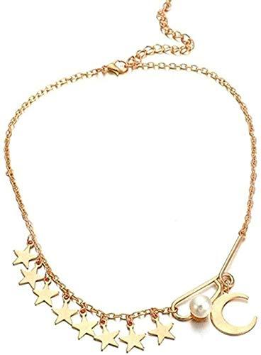 zxcdsaqwe Co.,ltd Collar Estrella Luna Colgante Gargantilla Collar Exquisita Cadena de clavícula Regalos para Mujeres niñas