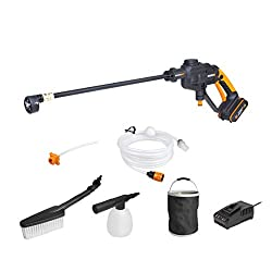 Dual watering system in one-power cleaning and watering Different spray patterns provide versatile for different jobs 10x more pressure than garden hose and nozzle Self priming function can draw water from bucket, pool, river etc Quick connection wit...