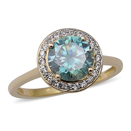 TJC Blue Moissanite Halo Ring for Womens in 9ct Yellow Gold Anniversary Jewellery Size T with White Zircon, TCW 2.17ct