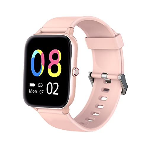 IOWODO Activity Tracker Smartwatch for Android and iOS Phones- Smart Watches for Women Men Heart Rate Monitor IP68 Waterproof Fit Watch Fitness Tracker with Personalized Watch Faces Pink