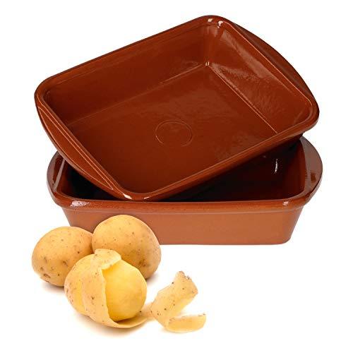 MamboCat Ton-Auflaufform Set 350 ml I 2 Auflaufformen klein eckig 4 x 20 x 14,5 cm I Mediterranes Ton-Geschirr Mittelalter in hochwertiger Handarbeit I Vintage Lasagneform Ofenform Set Glasiert