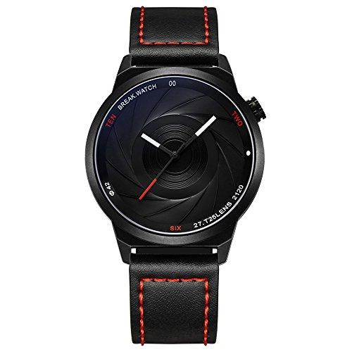 BREAK Unisex Quarzuhr, Wasserdichte Armbanduhr Einzigartige Kamera Analoge Uhr, Fashion Watch Lederarmband mit Geschenkbox, Schwarz Casual Uhr für Outdoor Sport