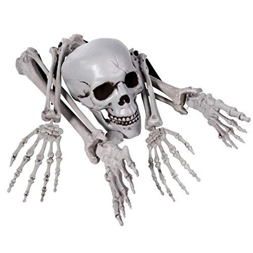 EXCEART - Juego de 5 esqueletos y calaveras de plástico espeluznante para decoración de Halloween, decoración de cementerio, decoración de suelo, esqueleto de Halloween con articulaciones móviles