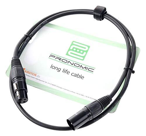 Pronomic XFXM-1 Mikrofonkabel (1m Länge, XLR female 3-pol -> XLR male 3-pol, Stecker handgelötet, säure- und ölfest, Spannzangen-Zugentlastung) schwarz