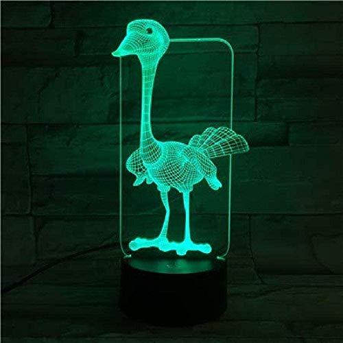 3D Illusion LED Nachtlicht 3D Tischlampe Tier Strauß LED USB Touch Sensor Dekoratives Licht 7 Farbe RGB Kinder S Spielzeug Schlafzimmer Dekoration
