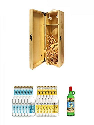 1a Whisky Holzbox für 1 Flasche mit Hakenverschluss + Fever Tree Mediterranean Tonic Water 6 x 0,2 Liter + Fever Tree Tonic Water 6 x 0,2 Liter + Gin Xoriguer Mahon Gin 0,7 Liter
