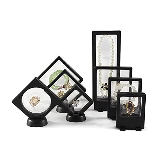 6/8 Stück 3D schwimmende Rahmen, Pe Film Schmuck Aufbewahrungsbox Transparent Schmuck Aufbewahrungsregal für Ring Halskette Armband Ohrring (8 Stk Schwarz)