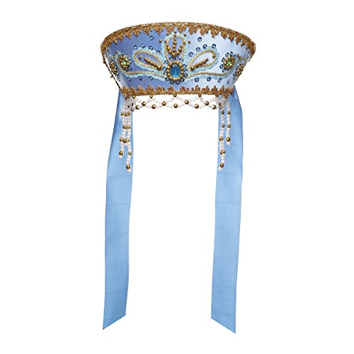 Costume folklorique russe traditionnel - Coiffe Kokoshnik'Victoria' bleu clair #946
