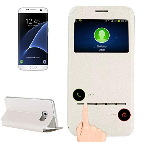 JIANGHONGYAN For Samsung Galaxy S7 Edge / G935 Funda de Cuero con Tapa Horizontal con Titular y Pantalla de identificación de Llamadas (Color : Blanco)