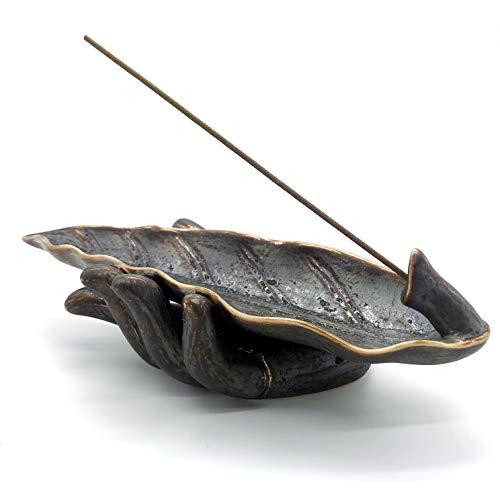 NAGU Incense Stick Holder, Buddha Hand Ceramic Incense Ash Tray, Long Leaf Shape Incense Burner, Yoga Meditation Home Decor Accessories(Black)