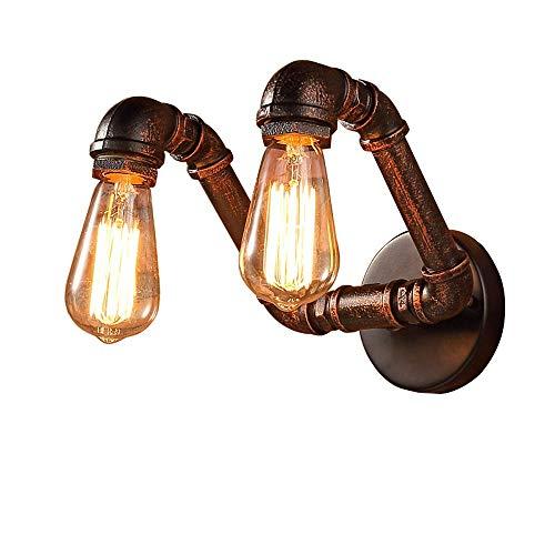 Raxinbang Luces de Pared Moderno Dos Bombillas Lámpara De Pared Decorativa Retro Estilo Industrial Salón Comedor Bar Decoración De Pared Accesorios De Iluminación