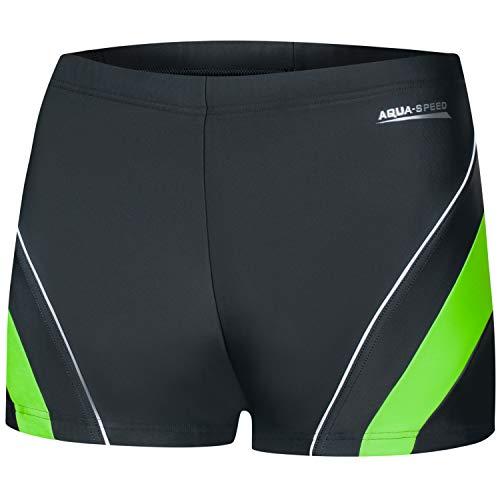Aqua Speed Enge Boxer Badehosen Jungs + gratis eBook | Retro Schwimmhose Teenager | Boys Swimwear | Schwimmbekleidung | Dennis, Gr. M, 38 Gray Green