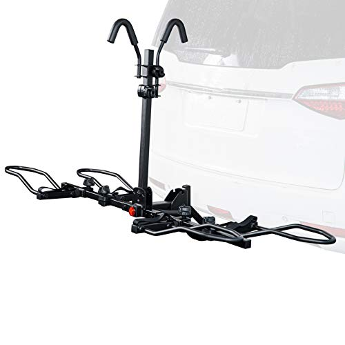 """KAC Overdrive Sports K1 1.25"""" Hitch 2-Bike Capacity Hitch Mounted Rack for Standard, Fat Tire, and Electric Bicycles - Extra Heavy Weight Capacity (60 lbs/Bike) - Smart Tilting – RV Use Prohibited"""