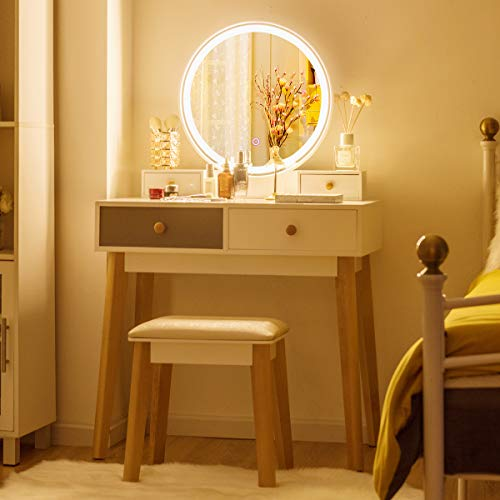 CHARMAID Vanity Set with Lighted Mirror, Adjustable Brightness, 3 Color Temperatures, Touch -