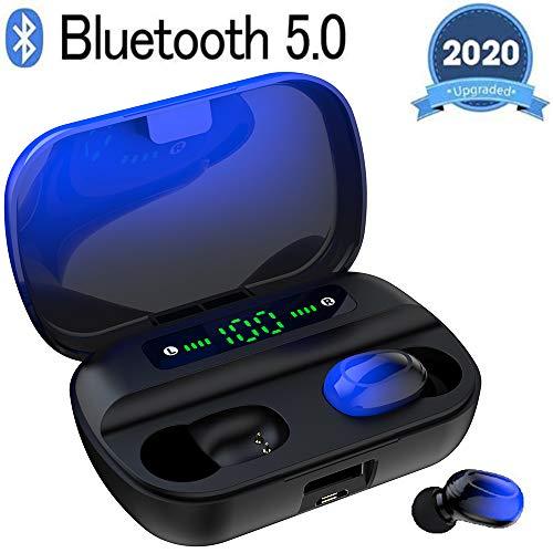 Bluetooth Kopfhörer, V5.0 Wireless Earbuds mit 150H Spielzeit, In Ear Bluetooth 5.0 Kopfhörer Kabellos und IPX8 Wasserdicht, Touch-Control, Battery LED Display,für iPhone Huawei Samsung (Schwarz)