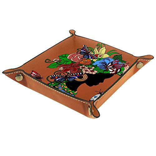 Handiya Aufbewahrungsbox für Schlüssel, Handy, Münzen, Geldbörse, Uhren, etc., Blau / Weiß, Braun Schmetterling Mädchen, 4.5x4.5x1.18 in