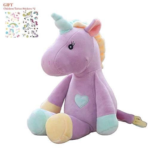 Georgie Porgy Peluche Unicornio Terciopelo Super Suave Osito de Peluche Animal Juguete Suave para Niños (Púrpura)