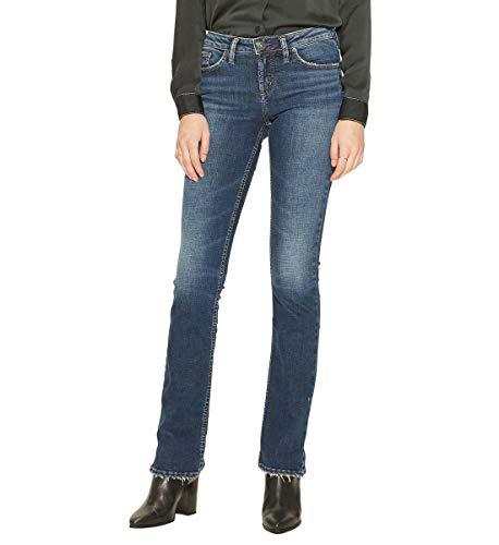 Silver Jeans Co. Damen Suki Curvy Fit Mid Rise Slim Bootcut Jeans, Vintage Dark Wash, 34W x 33L