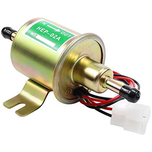 SOLLON Bomba de combustible eléctrica universal de alto rendimiento de 12 V para gasolina y diésel, bomba de combustible de baja presión en línea OEM # HEP-02A HEP02A