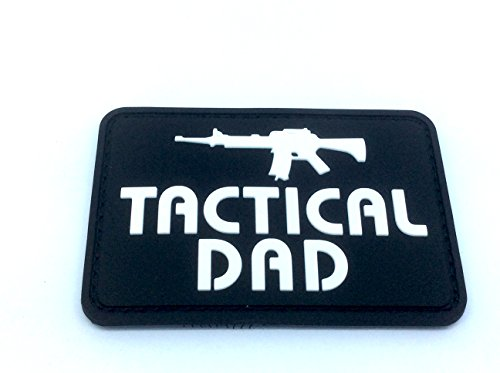 Tactical Dad Schwarz Morale Patch PVC Airsoft Paintball Klett Emblem Abzeichen