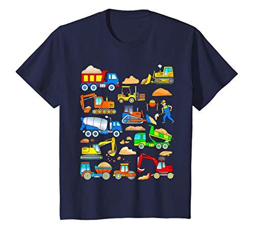Niños Excavadora Carretilla Elevadora Camión Volquete Hormigoner Camiseta