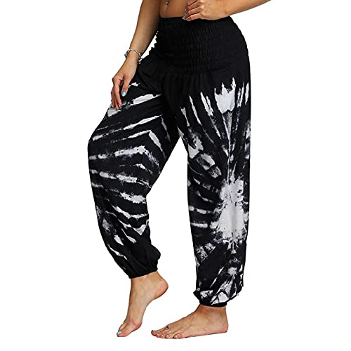 QTJY Pantalones Holgados de Playa cómodos para Mujer Pantalones Hippie gitanos Bohemios Cintura elástica Pantalones Sueltos Casuales de Aladdin I S
