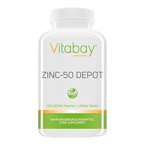 Zinc-50 Depot - 25 mg Zink Elementargehalt pro Portion - aus Zink Gluconat - 500 vegane Tabletten