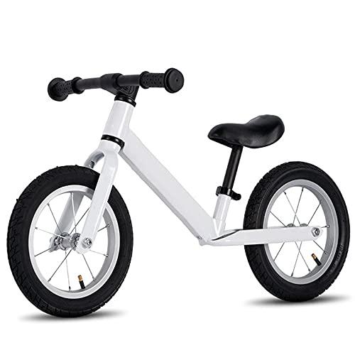 Wushu First Bike Bicicleta Pedales Infantil para Niños De 2 A 6 Años Bici para Aprender A Mantener El Equilibrio hasta 45 Kg yasiento Regulables(Color:Blanco)