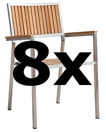 ASS 8Stk Designer Gartenstuhl mit Armlehne Gartensessel Stapelstuhl Stapelsessel Sessel Kuba-Teak Edelstahl Teak A-Grade stapelbar sehr robust Gastroqualität
