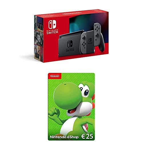 Nintendo Switch Konsole - Grau (2020 Edition) + Nintendo eShop Card | 25 EUR Guthaben (Download Code)