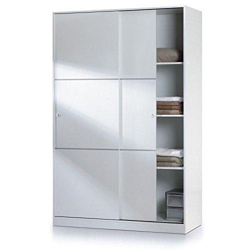 Habitdesign - Armario Dos Puertas correderas, Armario ropero Tres estantes, Medidas: 200 x 120 x 50 cm (Blanco)