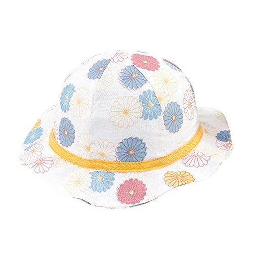 G-Kids Baby Kinder Sonnenmütze Hut Baumwolle Sommer Kappe UV Schutz Fischerhut Babymütze Schirmmütze mit kinnriemen Gänseblümchen L