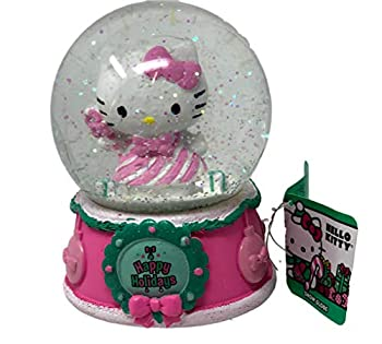 Christmas Hello Kitty Happy Holidays Musical Snow Globe - Plays Jingle Bells