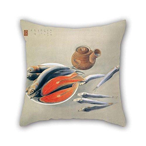 Pintura al óleo Tsuchida Bakusen - Naturaleza Muerta - Rodajas de salmón y sardinas Fundas de Almohada para Esposa Marido Comedor Divan Family Office con Ambos Lados