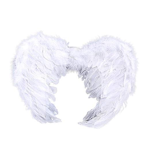 Alas de ángel de carnaval blanco diablo blanco sintético emplumado 6/10 años unisex