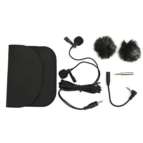 Double-head microfoon voor interview/live uitzending, live interview microfoons voor 2 personen, omnidirectioneel voor OSMO Pocket Pocket, voor Android mobiele telefoon, SLR