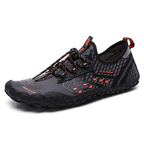 UBFEN Water Shoes Mens Womens Swimming Shoes Aqua Shoes Beach Sports Quick Dry Barefoot for Boating Fishing Diving Surfing with Drainage Driving Yoga 13 Women / 11 Men D Grey Orange