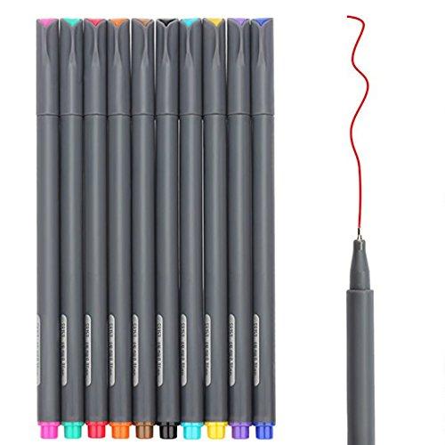 Juego de fibras de color Huhuhero de punta fina, de 0.015 pulgadas, tiralíneas, marcadores de punta fina de porosas, perfecto para colorear libros y proyectos de diarios del arte, paquete de 10