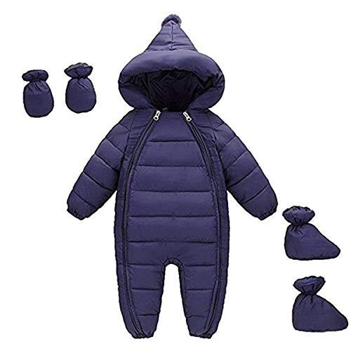 FAIRYRAIN Baby Jungen Mädchen Schneeanzug Daunenanzug Strampler mit Kapuze Handschuhe Footies Quilted Pramsuit Outdoor Winter Snowsuit , Marine,  90cm/9-12 Monate