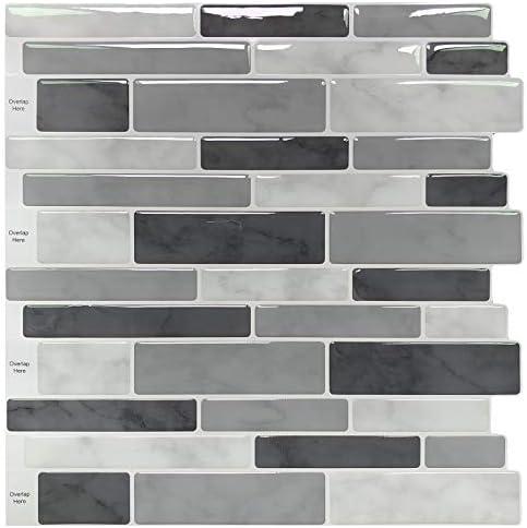 Peel Stick Backsplash Tile for Kitchen Gray Decorative Tile 10 Sheets product image