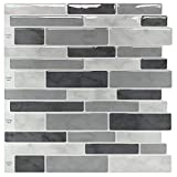 Peel & Stick Backsplash Tile for Kitchen, Gray Decorative Tile (10 Sheets)