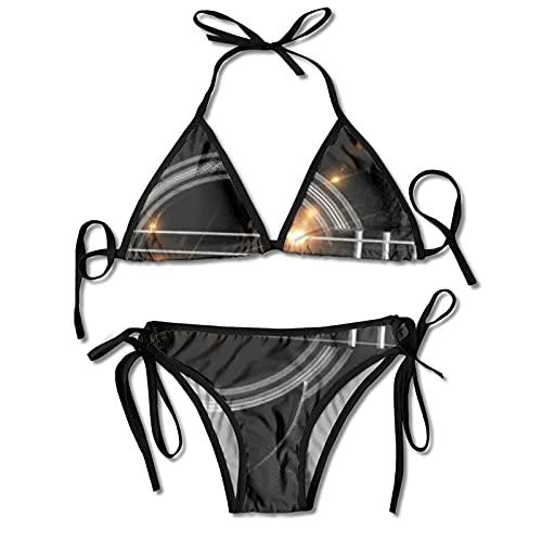 Conjuntos de Bikinis de Dos Piezas para Mujer, Traje de baño con Cuerdas de Guitarra Negra, Halter Acolchado, Push Up, Ropa de Playa para Playa, Piscina, Surf